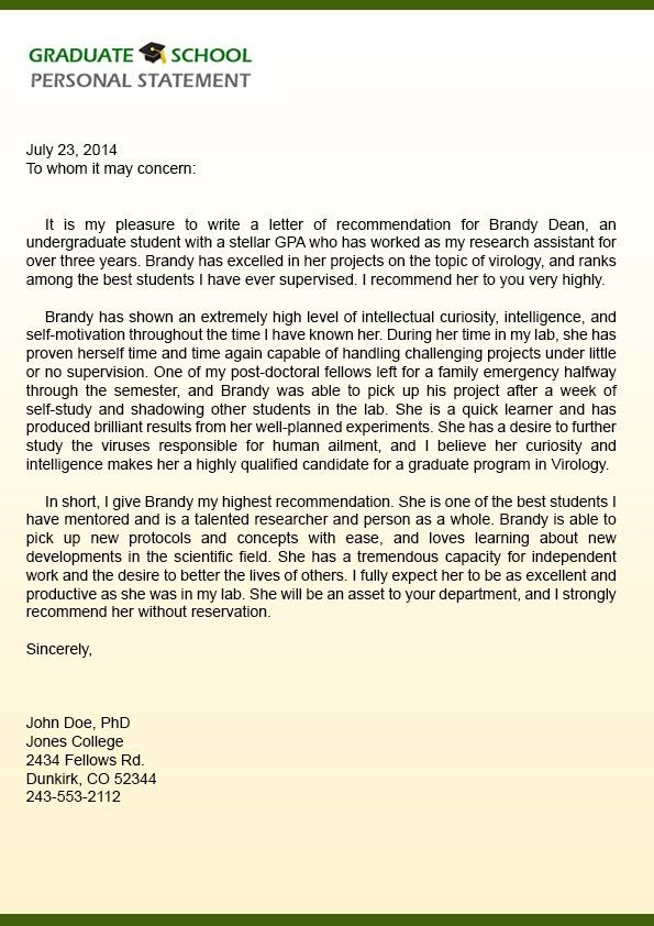 Recommendation Letter Format For Students Sample Scholarship - example letter of recommendation