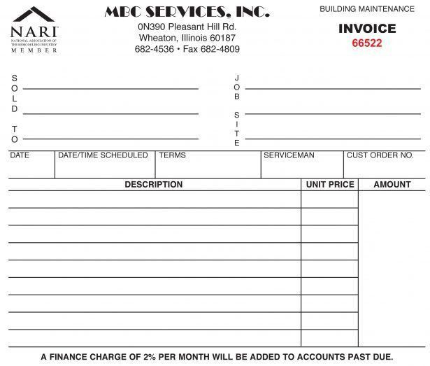 Maintenance Invoice Template Ms Excel Maintenance Invoice - carpenter invoice template