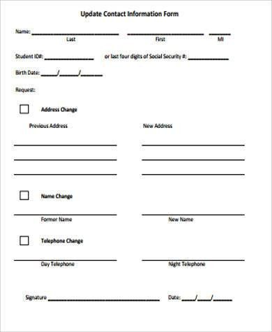 Contact Information Form Sample Contact Information Form 100