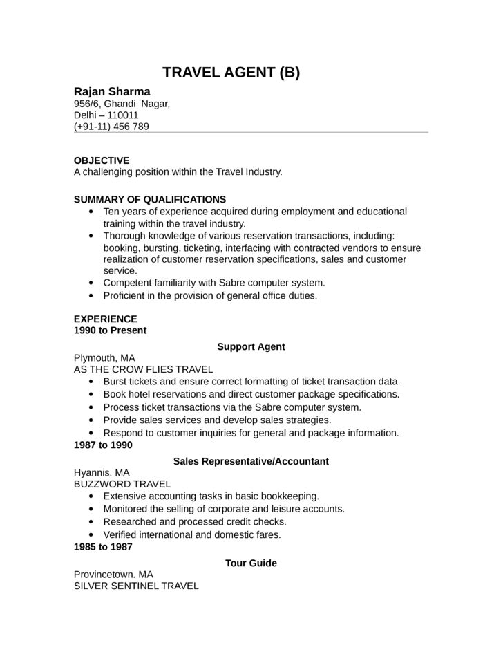 Sample Travel Agent Resume Example