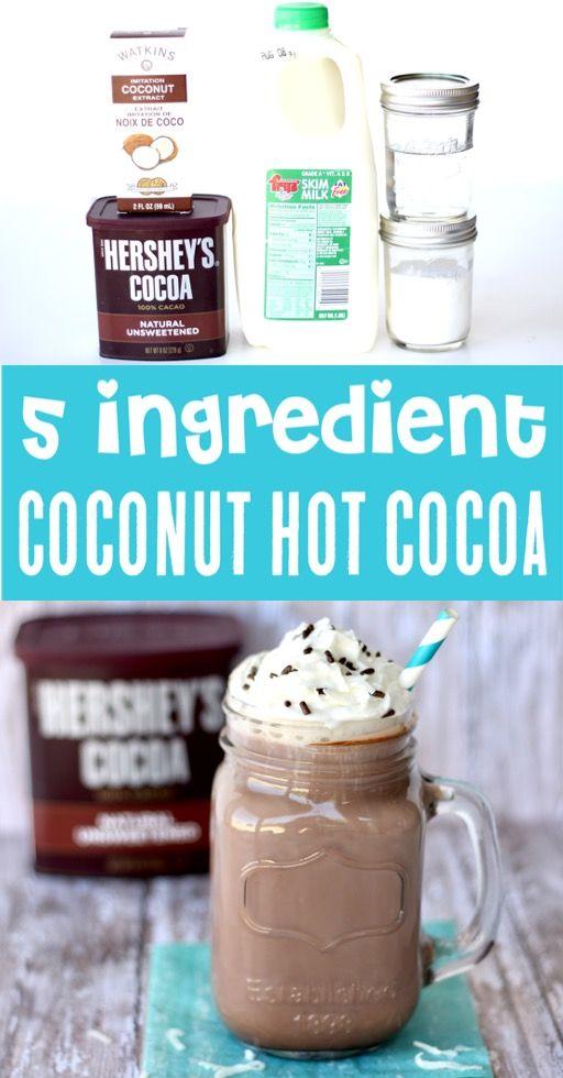 Crockpot Hot Chocolate Recipe - Easy Coconut Almond Joy Cocoa! {Just 5 Ingredients}