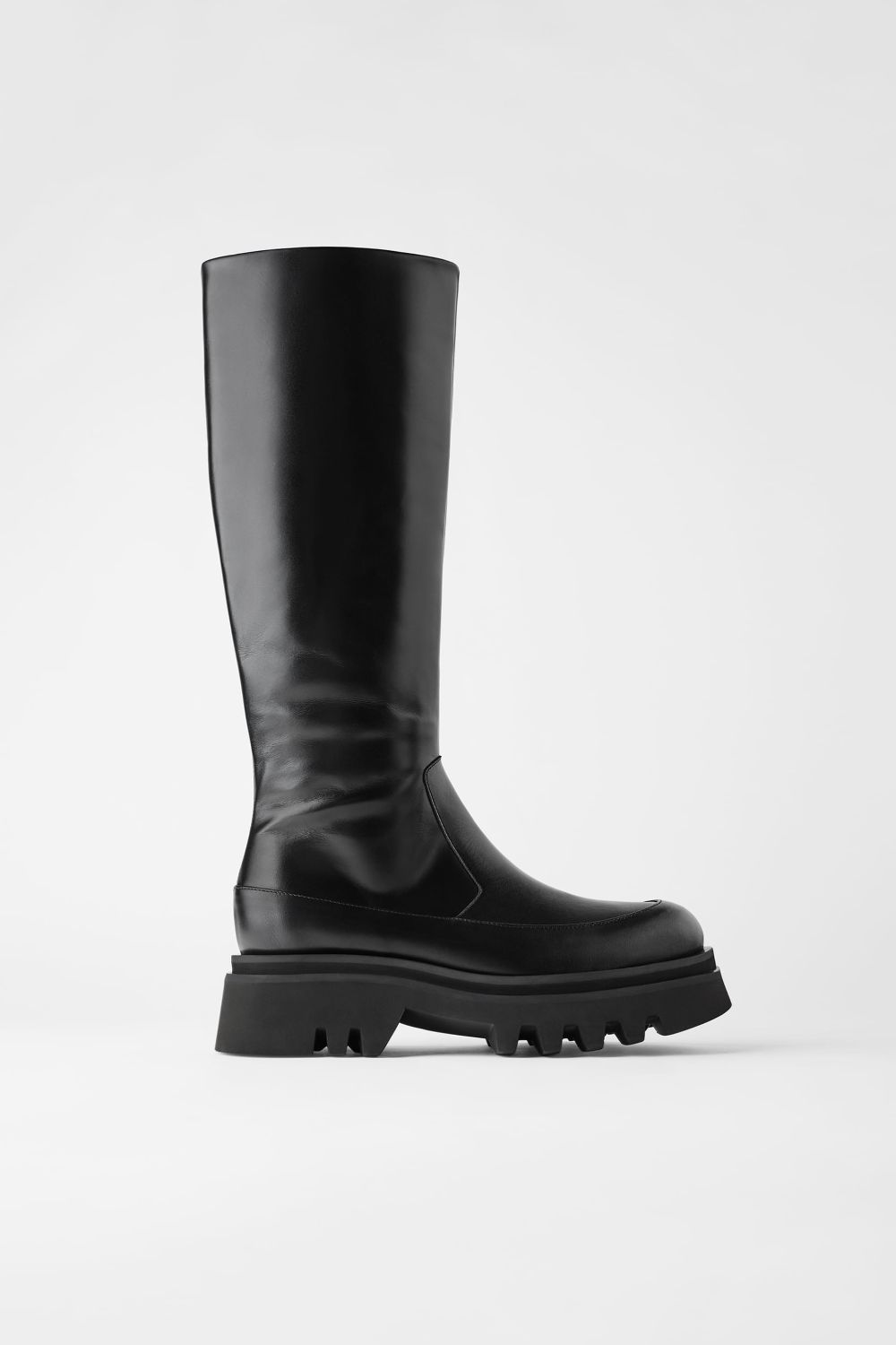 LEATHER BOOTS WITH TRACK SOLE | ZARA United Kingdom