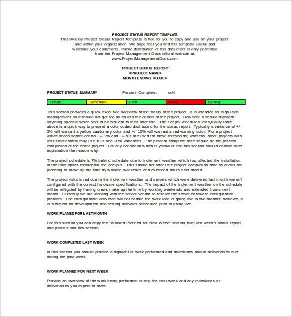 management report template word