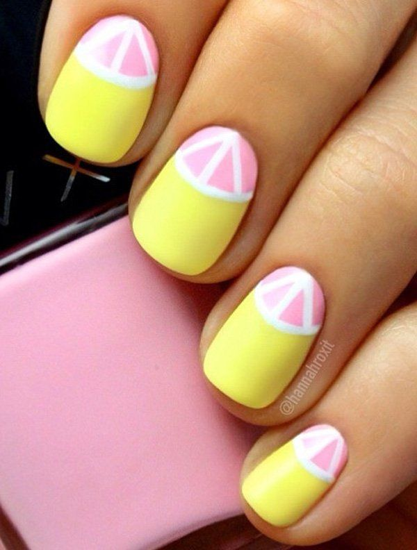 Another refreshing half moon nail art design; this time with matte pink and yellow. The accent this time is creating some lines on the half moon.