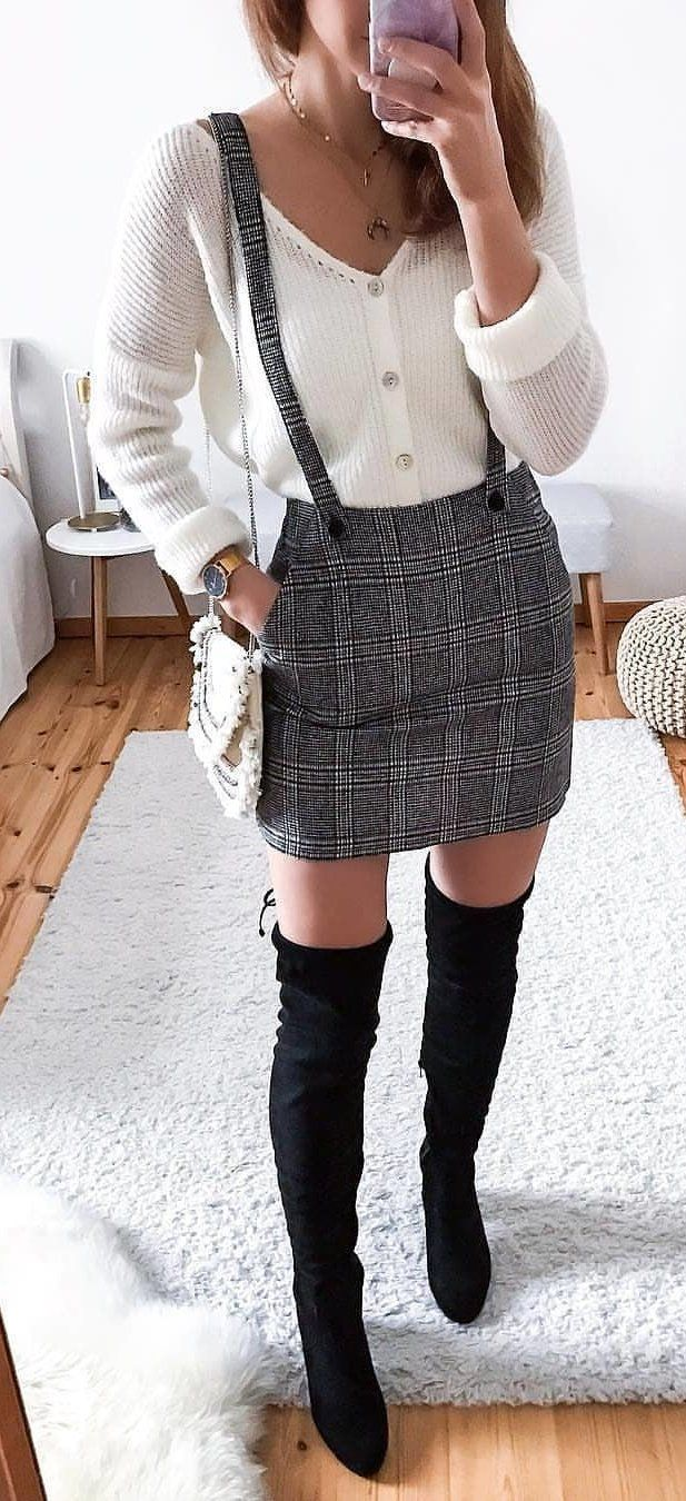 white long-sleeved shirt and gray skirt #spring #outfits