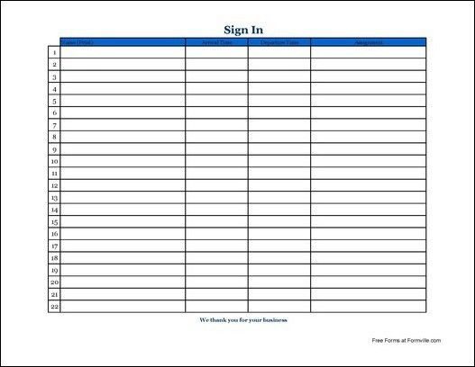 Doc585702 Free Sign in Templates Printable Sign In Sheet – Free Printable Sign in Sheet Template