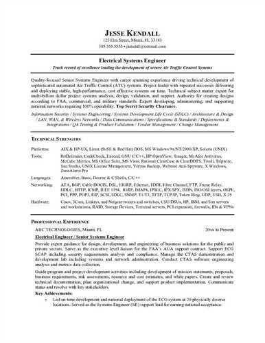 System Engineering Resume Systems Engineer Free Resume Samples - senior engineer resume