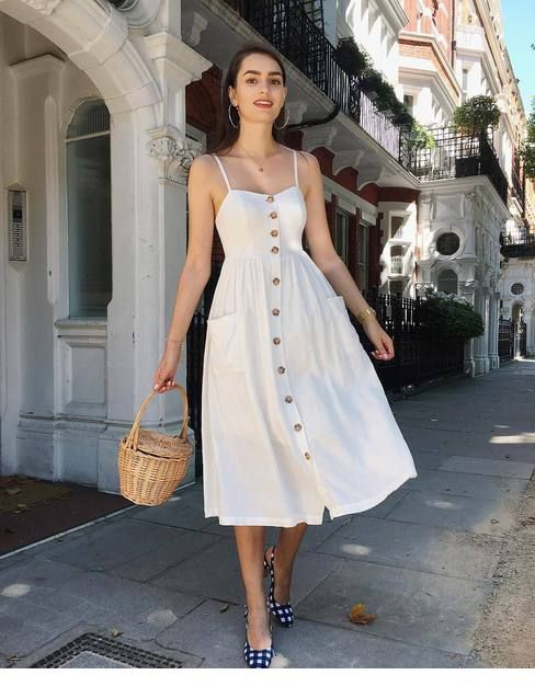 Chic boho retro white dress style