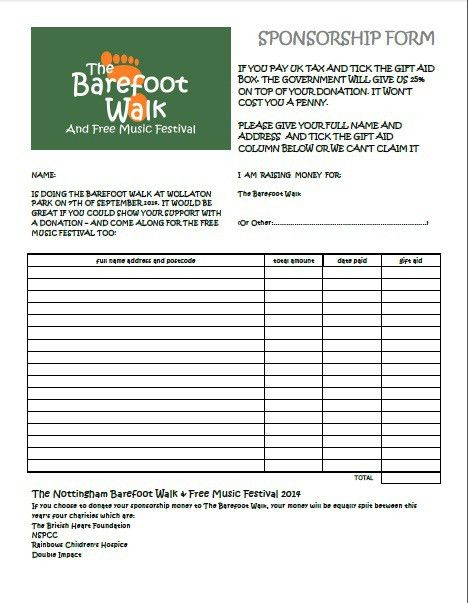 Charity sponsor form template - charity sponsor form template