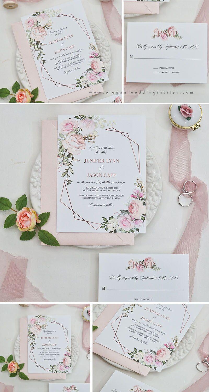 #EWI geometric blooms-pink florals and geometric pattern invitation with blush shimmer laser cut fold EWDM002