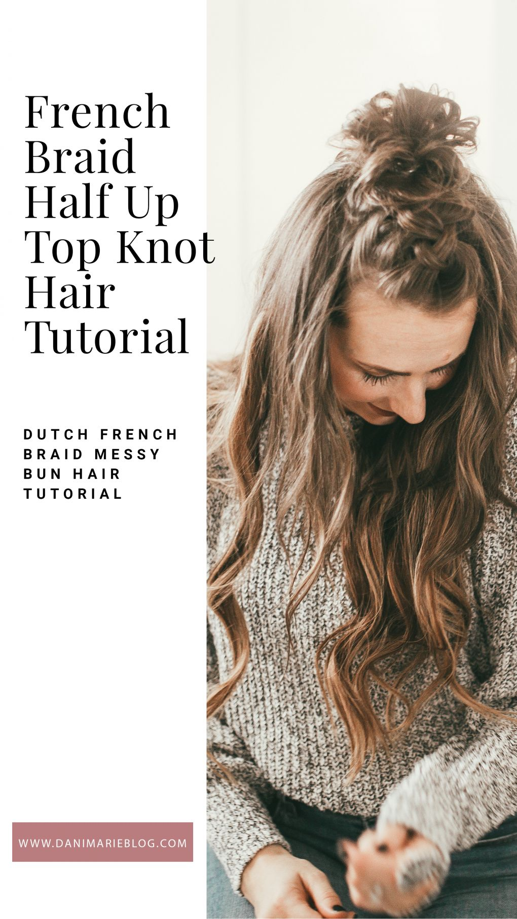 Looking for a easy hair tutorial? Utah Style Blogger Dani Marie is sharing this awesome french braid half up bun hair tutorial! Click to see it here! #braidedhairstyle #hairtutorial #easyhairtutorial #danimarie #braidedbun