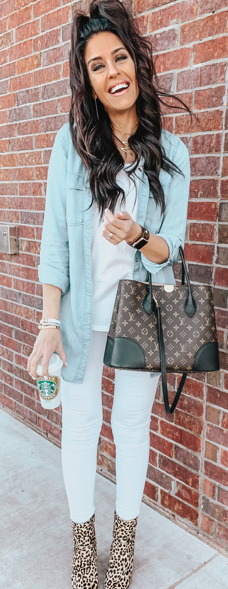 blue denim top and pants #spring #outfits