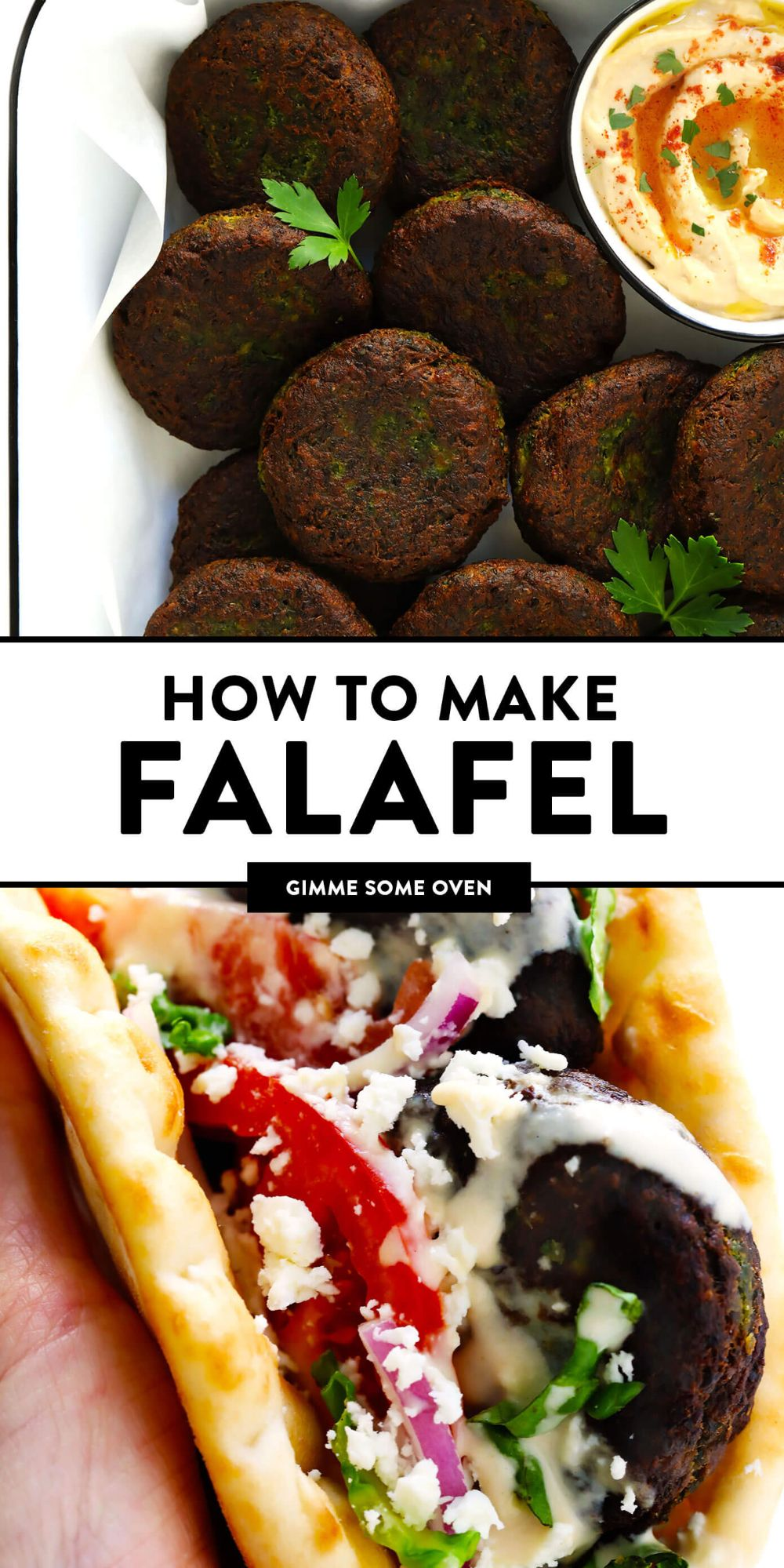Learn how to make falafel with this easy homemade falafel recipe! It's bursting with zesty fresh fresh flavors, lightly pan-fried (instead of deep-fried), and perfect for falafel wraps, salads, sandwiches and more. Bonus, it's also naturally vegan and gluten-free. | gimmesomeoven.com #falafel #wrap #vegetarian #vegan #glutenfree #healthy #dinner #freezermeals