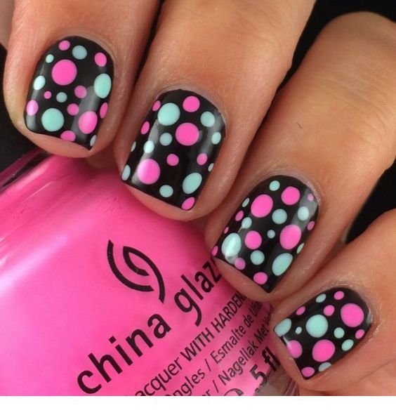 Blue and pink polka dts on nails