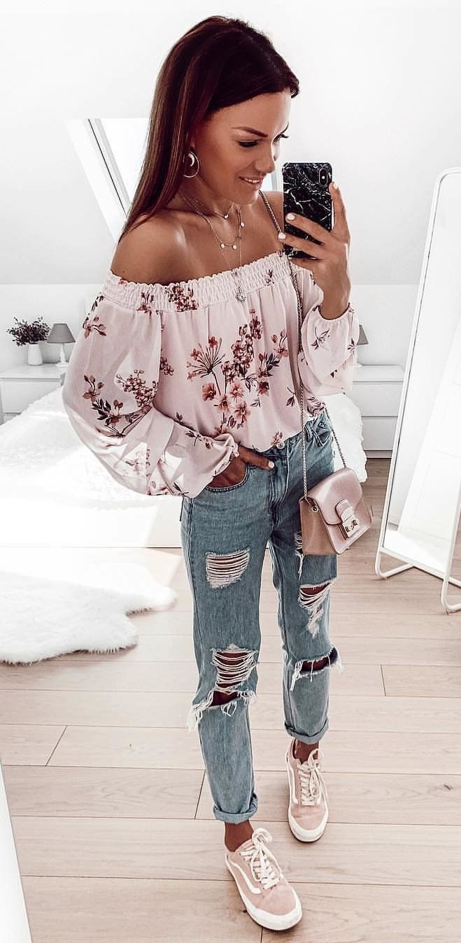 white and pink floral off-shoulder long-sleeved blouse #spring #outfits