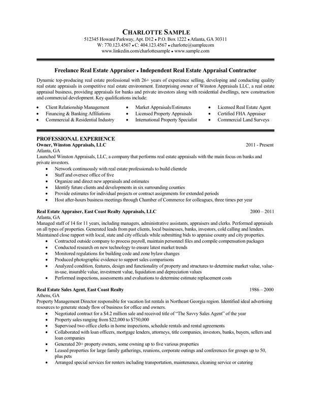 real estate specialist sample resume strikingly idea real estate - Commercial Appraiser Sample Resume