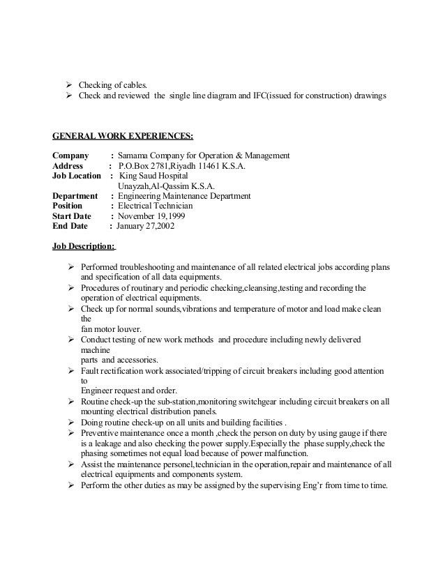 ... Electrician Job Duties Electrician Job Description Resume   Airfield  Electrician Cover Letter ...