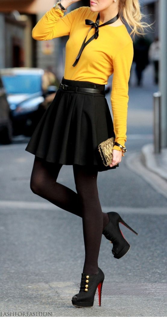 I like this look with yellow accents