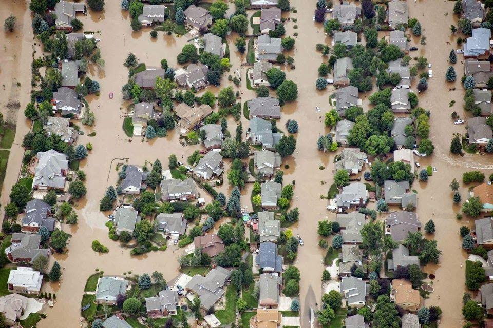 Inundações em Loveland, estado do Colorado, USA em 2013.