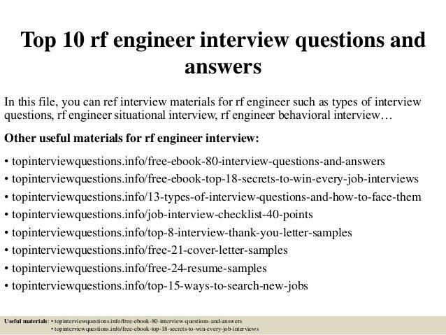 rf engineer cover letter