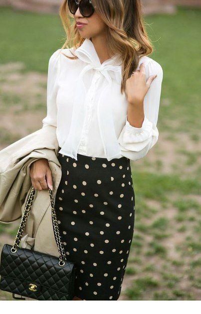 Lovely white shirt and polka dots skirt