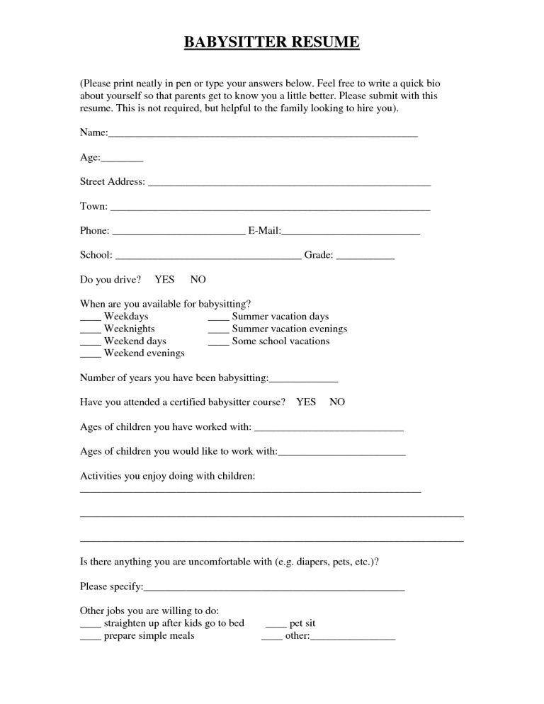 resume for babysitters