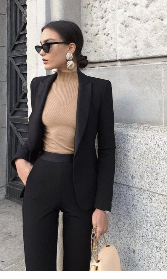 Black suit and blouse
