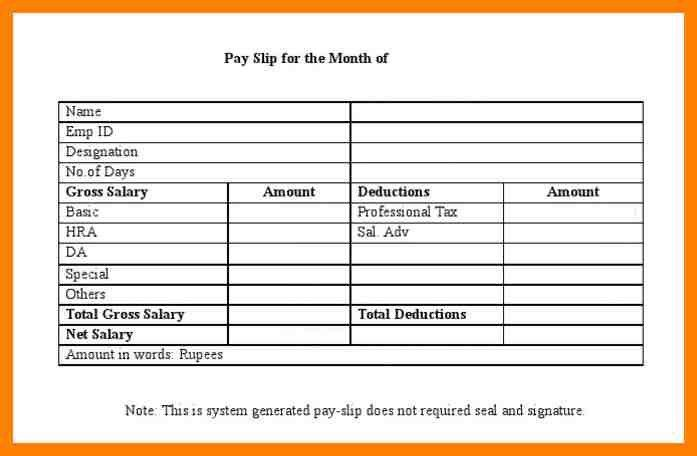 Payslip Template Excel Free Download