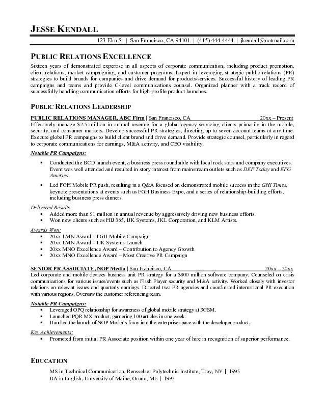 Pr Resume Examples - Examples of Resumes