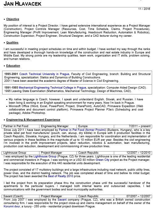 network project manager resumes