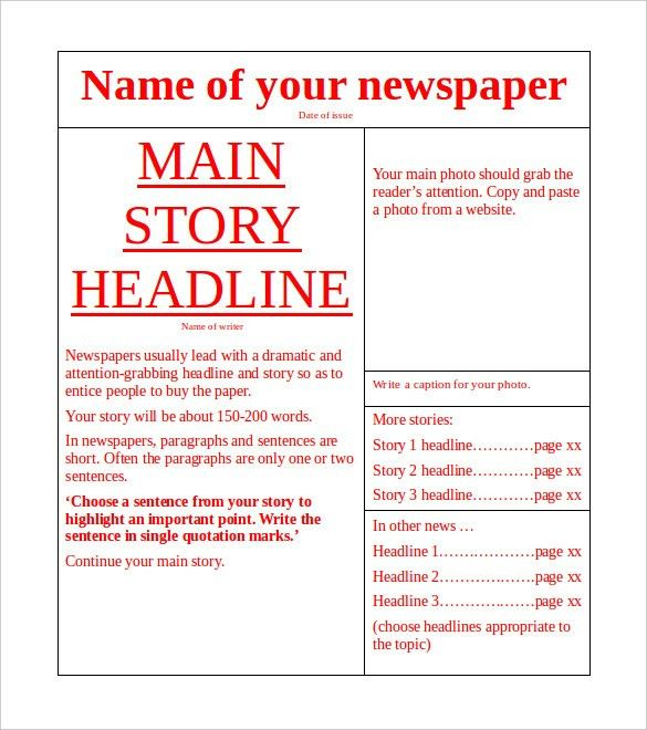 Newspaper Outline For Word Free Newspaper Template Pack For Word - newspaper headline template