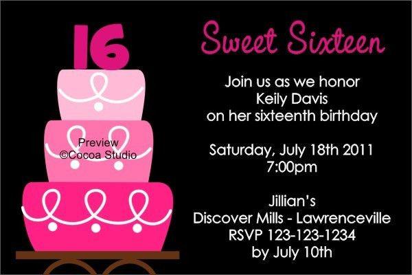 16th Birthday Invitations Templates Sweet 16th Birthday - free 18th birthday invitation templates