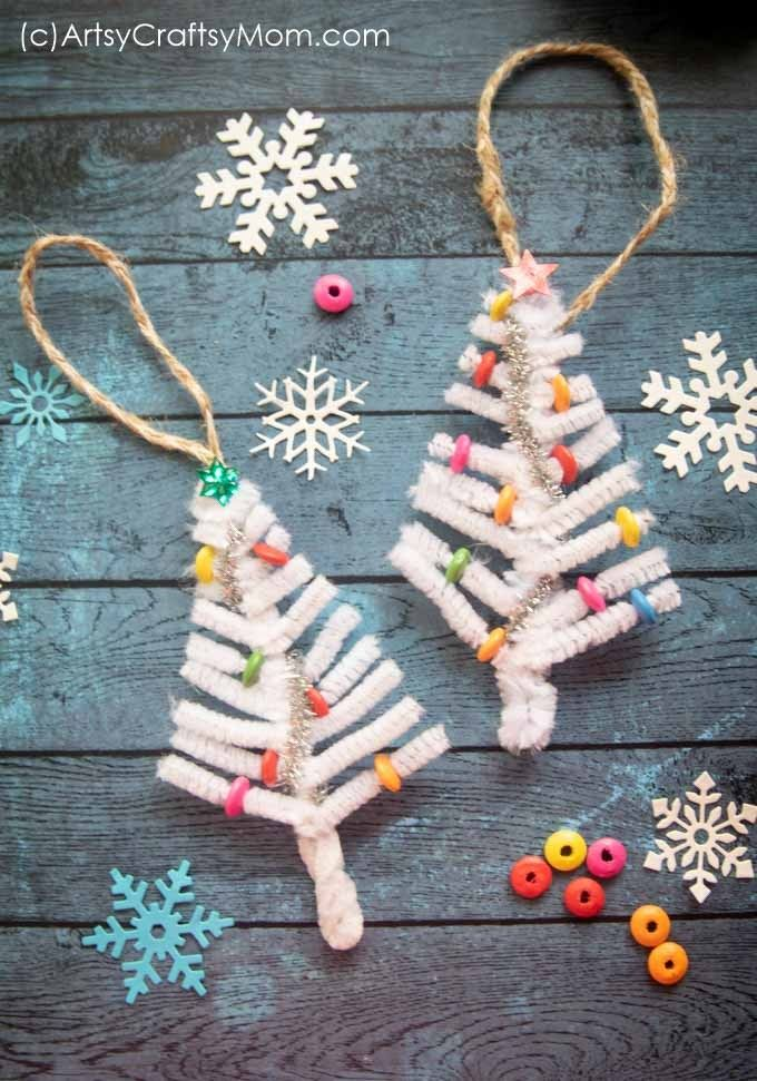 Dreaming of a white Christmas? Make it come true with our White Pipe cleaner Christmas Tree Ornament Craft!