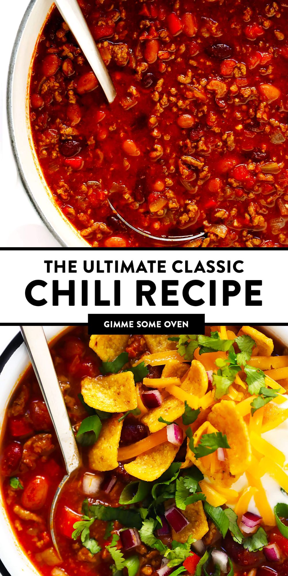The BEST chili recipe -- made with beef, beans, veggies and the most deliciously seasoned tomato soup broth. Easy to make on the stovetop or in the Instant Pot (pressure cooker) or Crockpot (slow cooker), and always a crowd fave!! | gimmesomeoven.com #chili #soup #stew #dinner #football #mealprep #freezermeal #beef #glutenfree