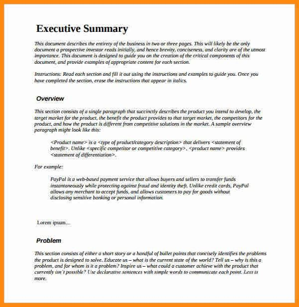Word Executive Summary Template Executive Summary Office - business summary template
