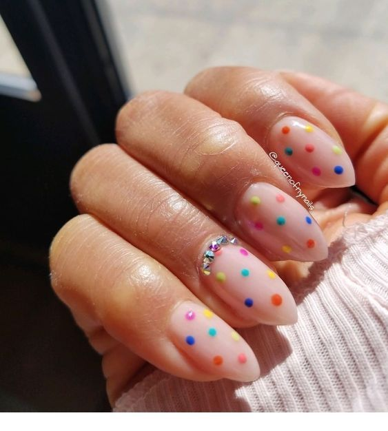 Chic nails with colorful polka dots