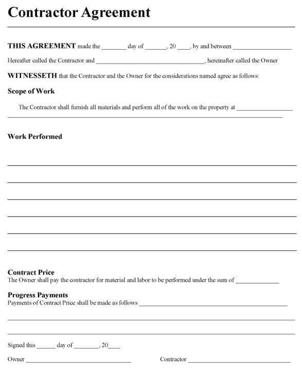 Contractor Agreement Form Independent Contractor Agreement - independent contractor agreement form