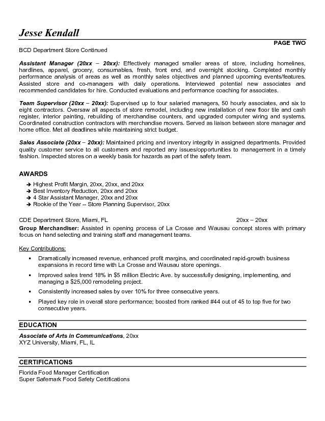 ... Resume Store Retail Store Manager Resume Sample Managnment   Retail Manager  Job Description ...