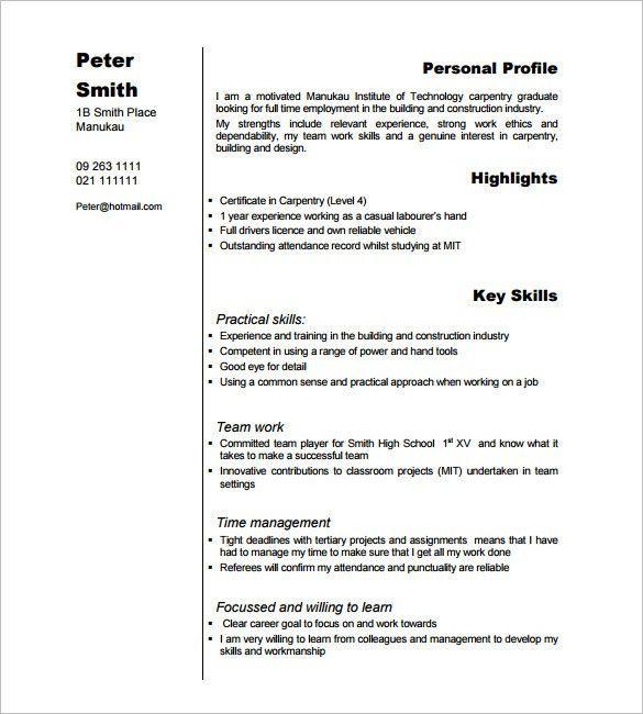Carpenter Resume Sample Resumeexamplessamples