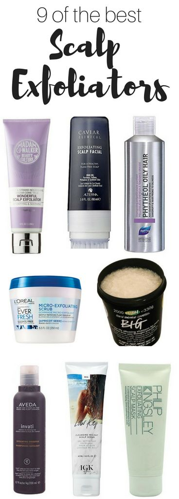 Nine of the best scalp exfoliators. If you have a flaky scalp or itchy scalp, try these. Do a scalp cleanse for better looking hair. These scalp treatment are great for dry scalp. Get rid of scalp treatment buildup with these products. This itchy scalp remedy will help reduce itching. #scalp #exfoliate #hair