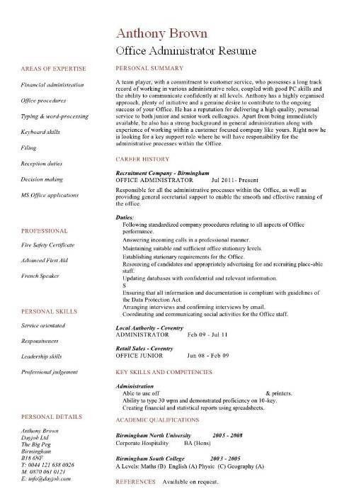 Administrator Resume Office Administrator Resume Examples Cv - sample database administrator resume