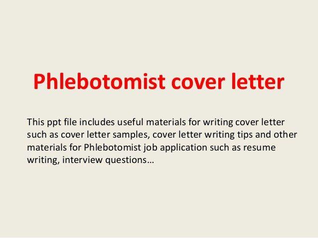 Phlebotomy Cover Letter Sample] Professional Phlebotomist Cover