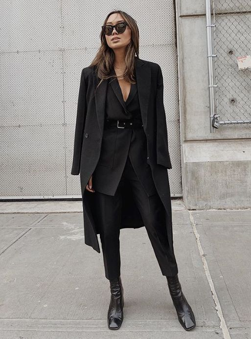 All Black Outfit with Belted Blazer