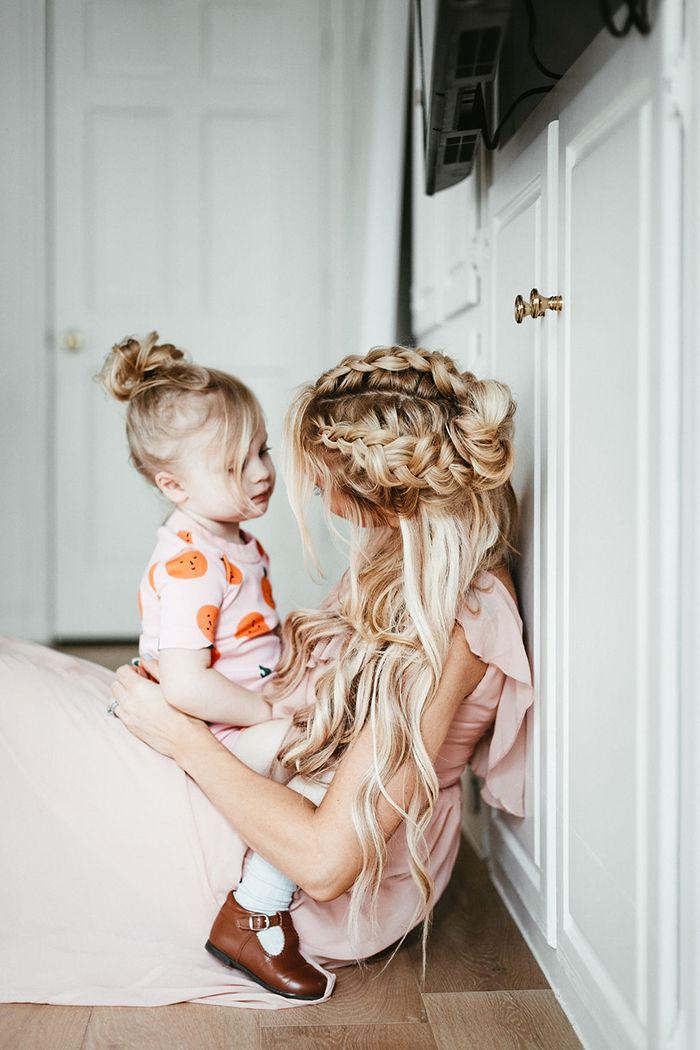 Motherhood, beauty in motherhood, mama love, last baby, braid, blonde, hair tutorial, wedding hair