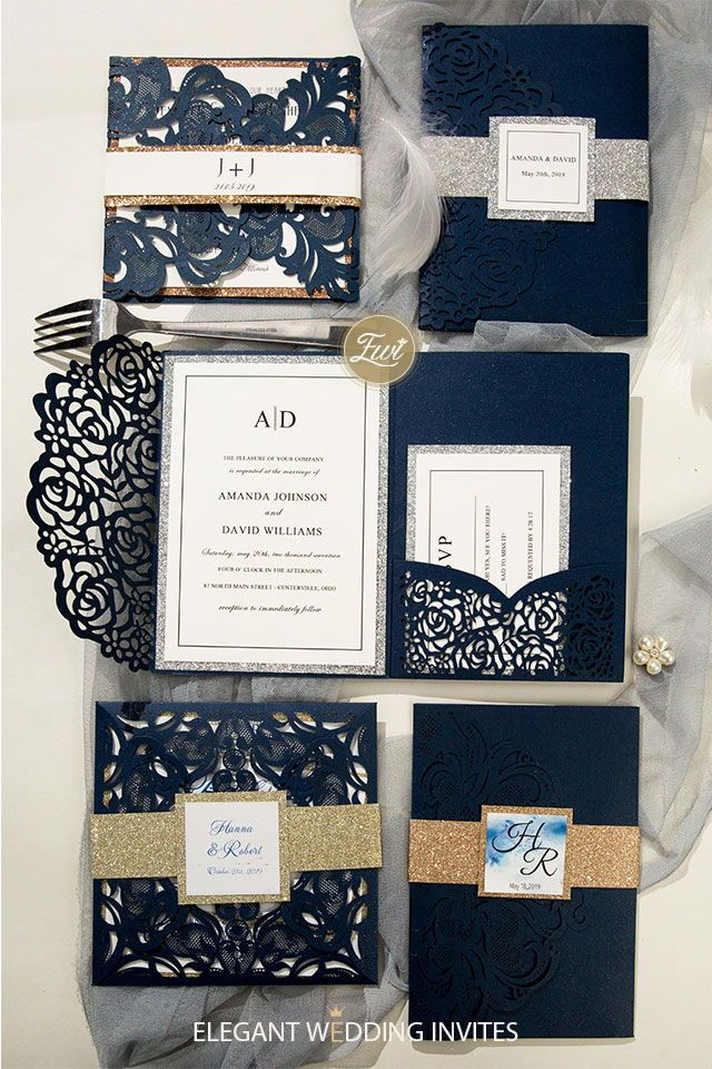 Elegant Navy Blue Gitter Wedding Invitation Ideas at #EWI
