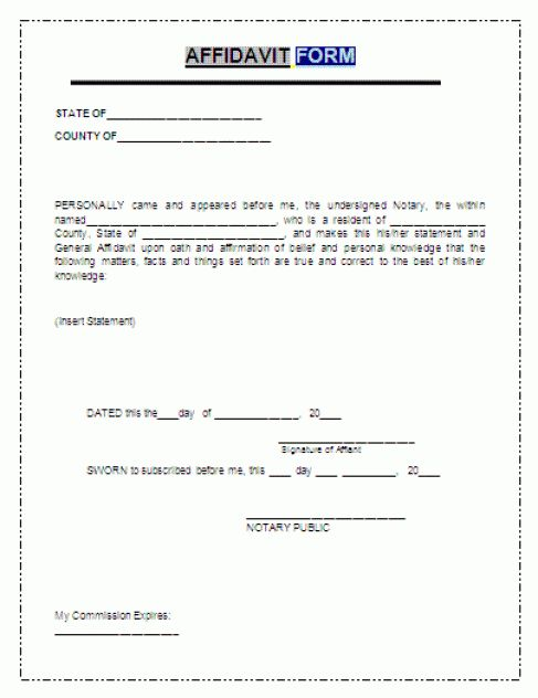 ... Free Affidavit Form Free General Affidavit Form Pdf Template Form    Affidavit Word Template ...  Free Affidavit