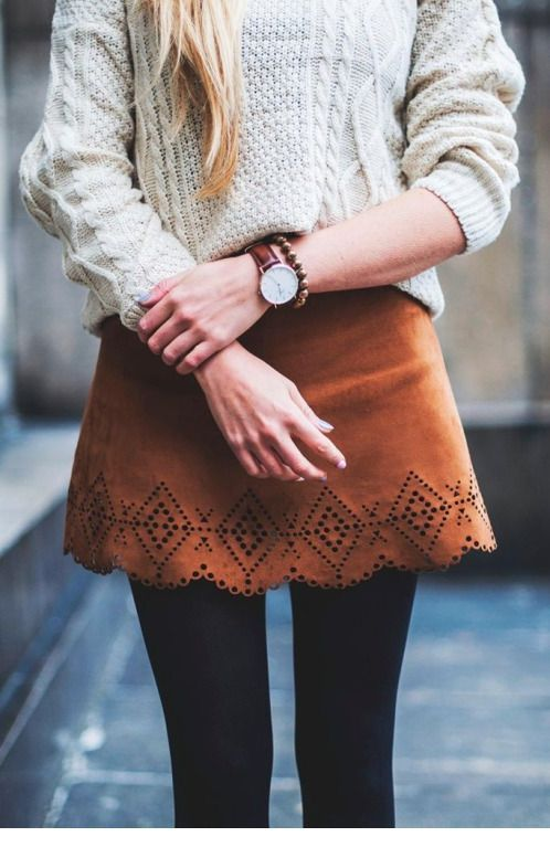 Beige sweater and brown skirt
