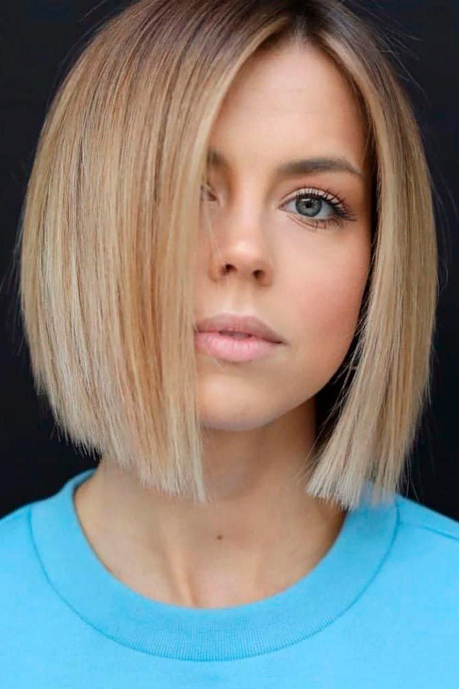 Sleek Blunt Bob #sleekhairstyles #bobhairstyles ★  Short hairstyles for round faces are in trend! If you have blonde hair and a round face, check out these 40 hairstyle ideas. #glaminati #lifestyle #shorthairstylesforroundfaces
