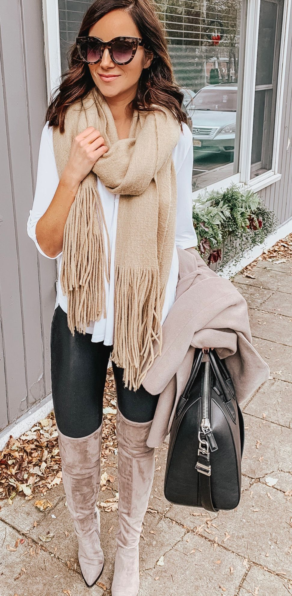 brown scarf and white 3/4 sleeved shirt