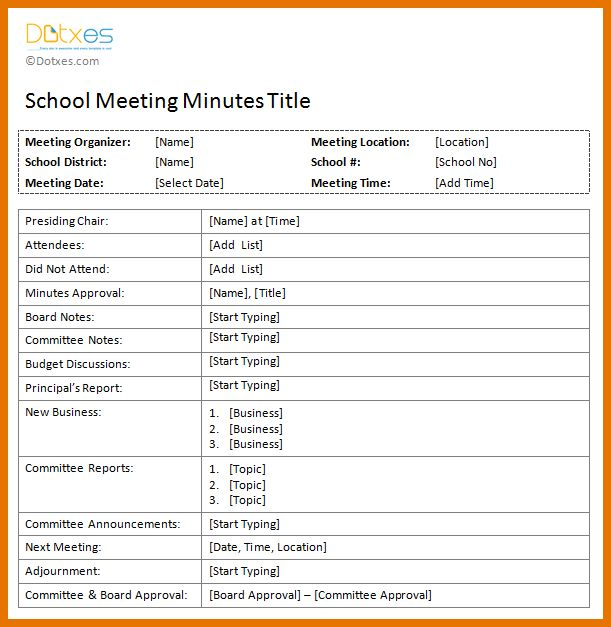 office minutes template
